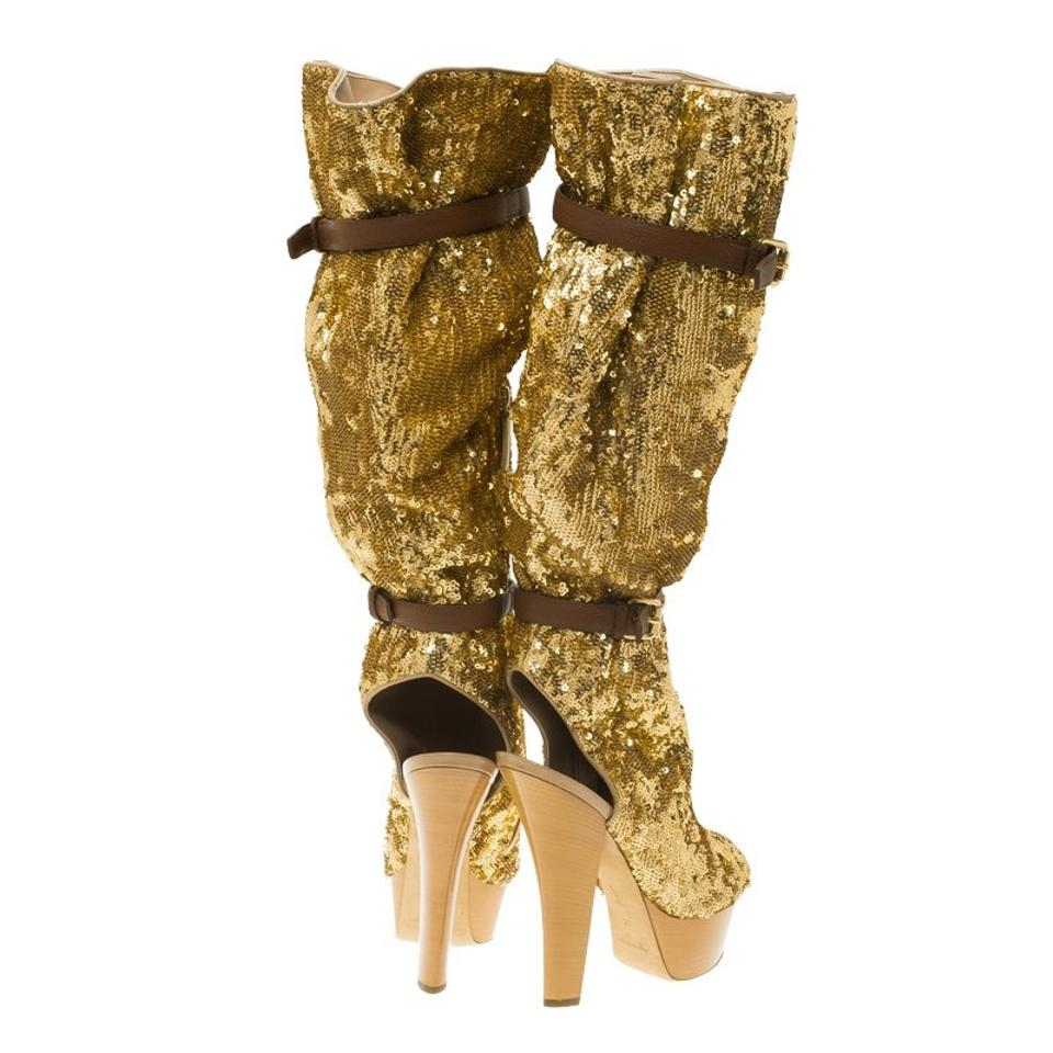 09ff94839167 Louis Vuitton Peep Toe Knee Leather Fabric Gold Boots Image 11.  123456789101112