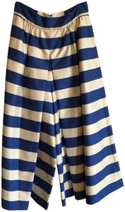 Alice + Olivia High Waist Culottes Striped Wide Leg Pants white and blue
