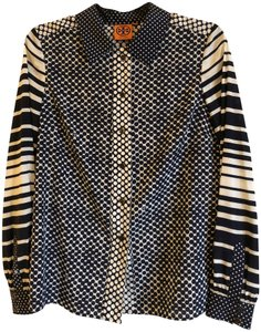 Tory Burch Mixed Print Button Down Shirt navy and white