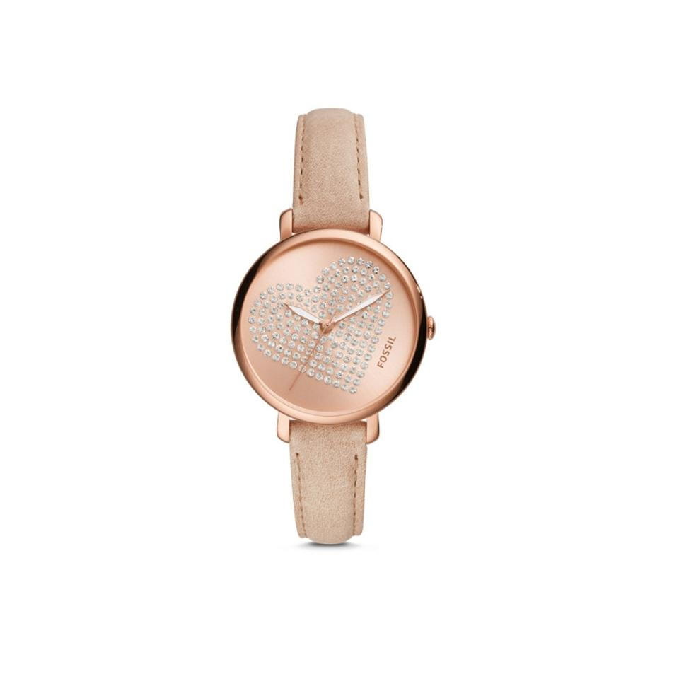 fossil rose gold leather watch