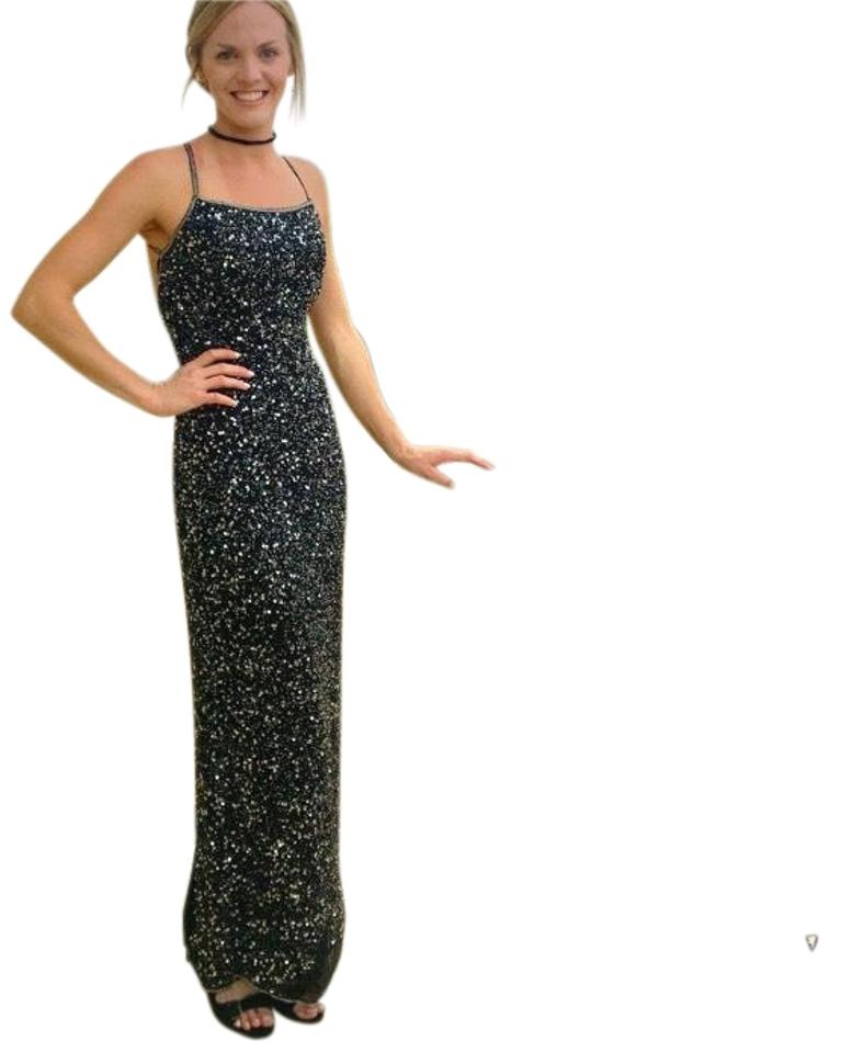 Black And Silver Prom Stunning Sequin Detail Long Formal Dress Size
