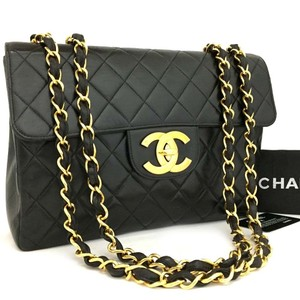 4a5f10f1de61 Chanel Lambskin Gold Shoulder Bag. Chanel Classic Flap Jumbo Quilted  Matelasse with Gold Chain Black Lambskin Leather ...