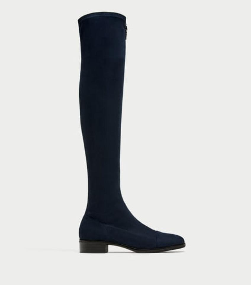 29b7f1a1059 Zara Navy Blue Suede Effect Over The Knee Boots Booties Size US 5 Regular (M