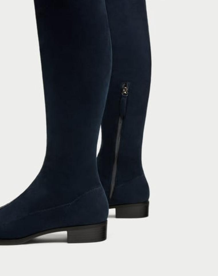 d5f09885d79 Zara Navy Blue Suede Effect Over The Knee Boots Booties Size US 5 ...