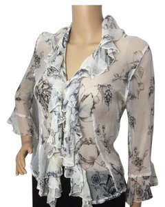 Anne Fontaine Top White with Black Print