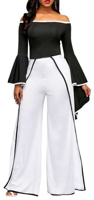 "Item - White Black Trimming/ From Waist To Length 43"" Flare Sleeve Off The Shoulder Contrast Binding Jumpsuit Pant Suit Size 8 (M)"