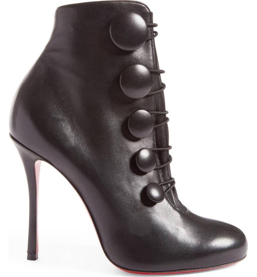 e0e344b22f3 Christian Louboutin Black Booton Leather Red Sole Button Boots/Booties Size  US 6.5 Regular (M, B)