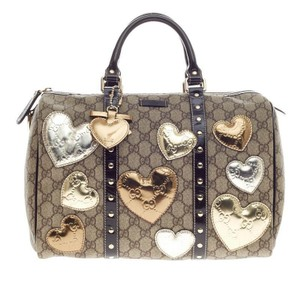 Gucci Limited Edition Hearts Bostonbag Tote in Brown, Metallic