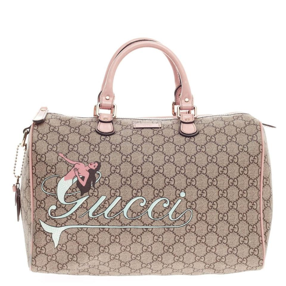 ec73638c46b071 Gucci Boston Mermaid Joy Gg Coated Canvas Medium Pink Leather Tote ...