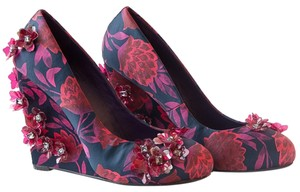Tory Burch Silk Flowers Red Wedges