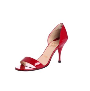 Christian Louboutin Leather European Luxury Structured Evening Red Sandals