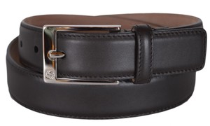 Gucci New Gucci Men's 345658 Chocolate Brown Smooth Leather GG Belt 34 85