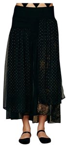Free People Witchy Sheer Panel Maxi Skirt black gold