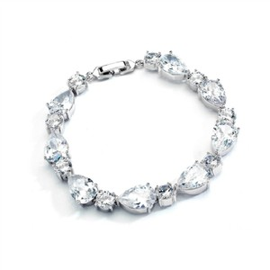 Silver Stunning Luxe Crystal Pears Rounds Bracelet