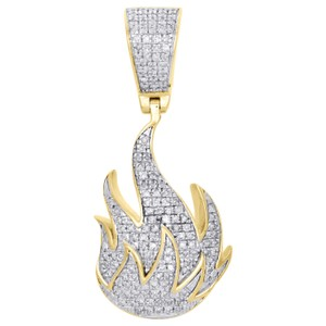 "Jewelry For Less 10K Yellow Gold Genuine Diamond Fire Emoji Pendant 1.4"" Charm 0.40 CT."