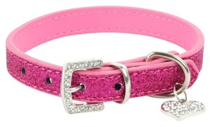 Queenesthershop Rose Pink Bling Bling Lovely Heart Collar