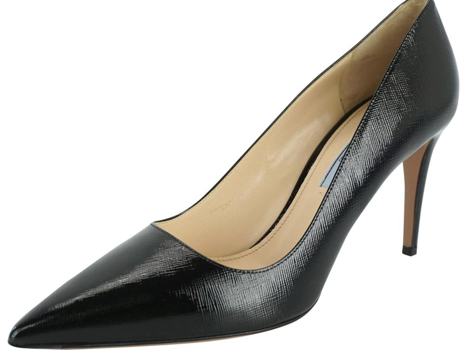 e9543186e874 Prada Black Saffiano Patent Pointy Toe High Heel Sexy Pumps. Size  EU ...