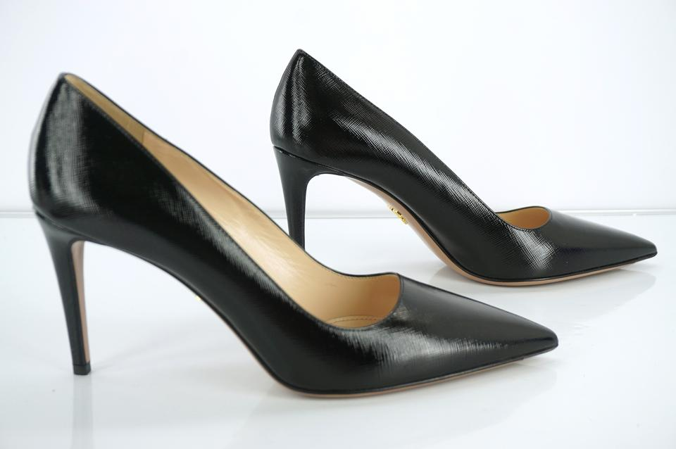 049aca62c0b1 Prada Black Saffiano Patent Pointy Toe High Heel Sexy Pumps Size EU 40  (Approx. US 10) Regular (M
