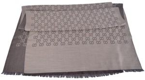 Gucci New Gucci 165903 XL Brown Wool Silk GG Guccissima Logo Scarf Shawl