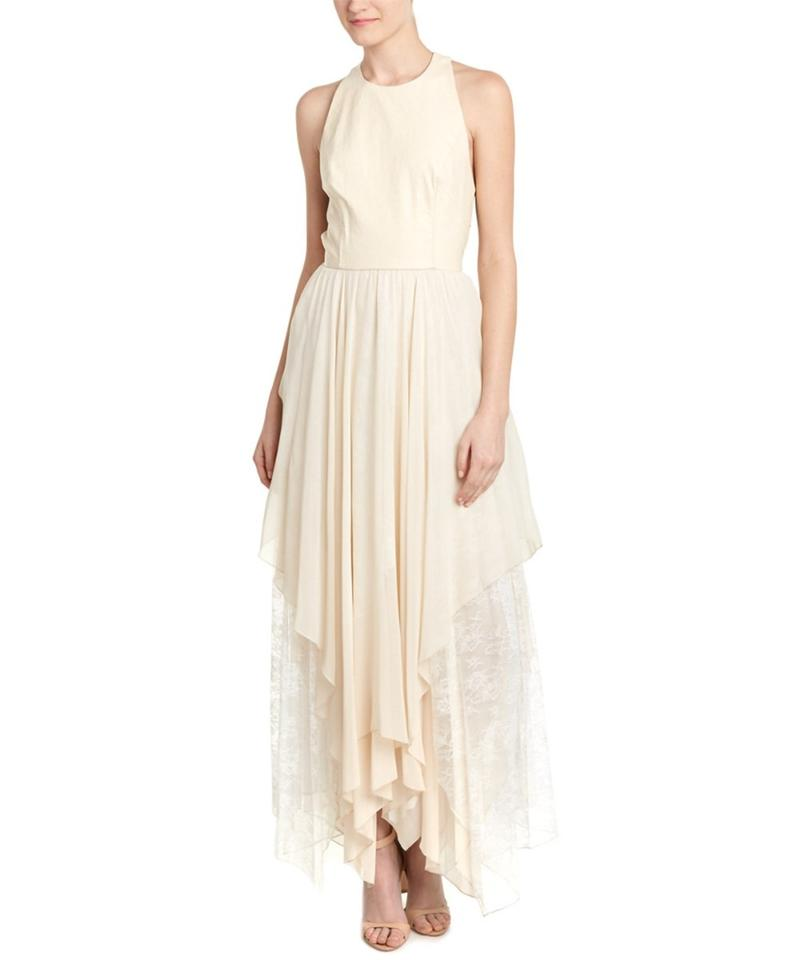 Alice + Olivia Beige Silk Gown Evening Long Night Out Dress Size 0 ...