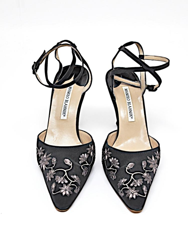 867f28cf4d9 Manolo Blahnik Black W/Silver Nylon Embroidered Ankle Strap Evening Heels  Formal Shoes Size EU 37.5 (Approx. US 7.5) Regular (M, B)