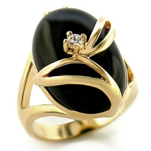Fashion Jewelry For Everyone Gold Black 14k Ep Genuine Onyx Stone Size 6 Ring