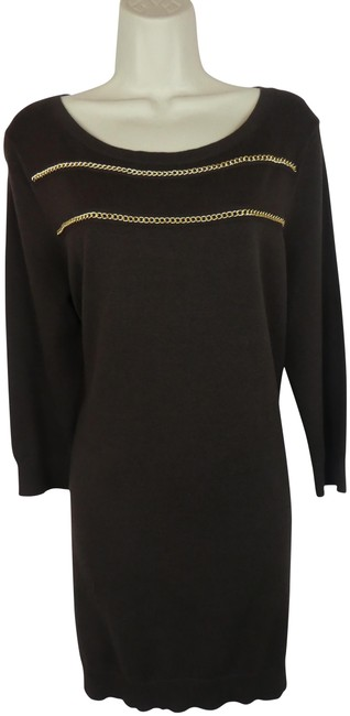 Item - Brown New Betsey Johnson Black Lace 10 Faux Pearls Mid-length Short Casual Dress Size 12 (L)