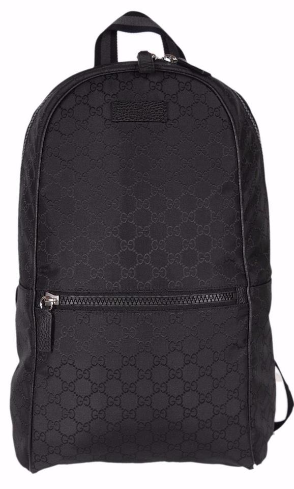 New Gucci 449181 Black Nylon GG Guccissima Slim Backpack Rucksack Travel Bag.  Gucci Travel Backpack . 77b2074c40878