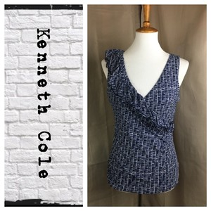 Kenneth Cole Top Navy/White