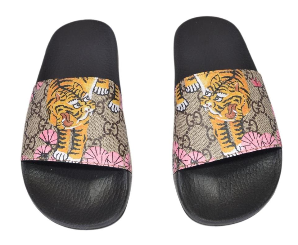 Gucci Multicolor New Women\u0027s 408508 Gg Supreme Canvas Bengal Tiger Slides  Sandals Size US 6 Regular (M, B) 36% off retail