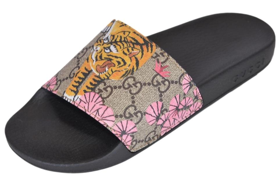 Gucci Multicolor New Women\u0027s 408508 Gg Supreme Canvas Bengal Tiger Slides  Sandals Size US 7 Regular (M, B) 36% off retail