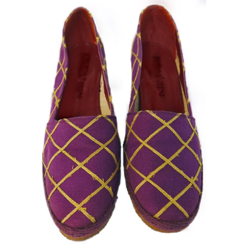 Saint Laurent Purple Vintage Espadrilles 70's Canvas Criss Cross Embroidered Espadrilles Vintage Wedges 26f61a