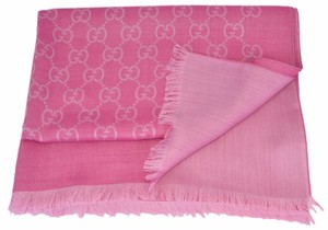 Gucci New Gucci 165903 Large Lightweight Rosette Pink Wool Silk GG Scarf
