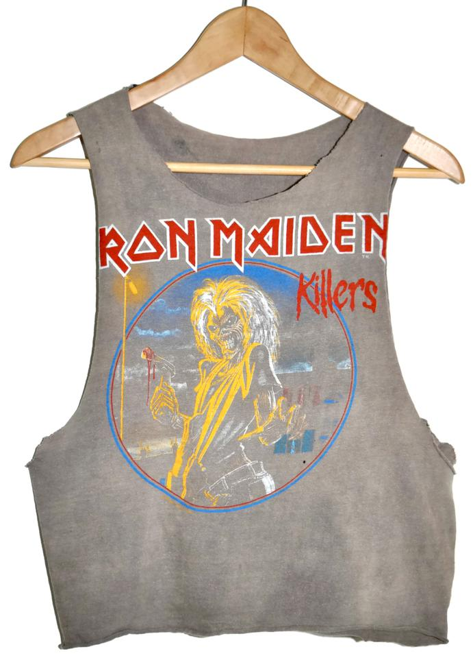 b096c4a2fb Gray 80s 1981 Iron Maiden Killers Rock Concert Tour Tank Tee Shirt ...