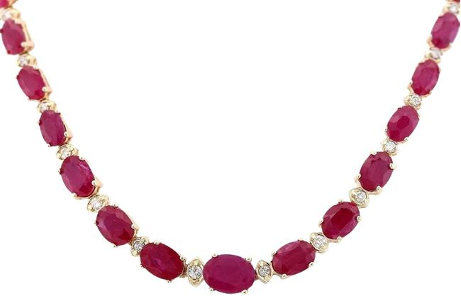 Item - Red 33.20 Carat Natural Ruby 14k Yellow Gold Diamond Necklace