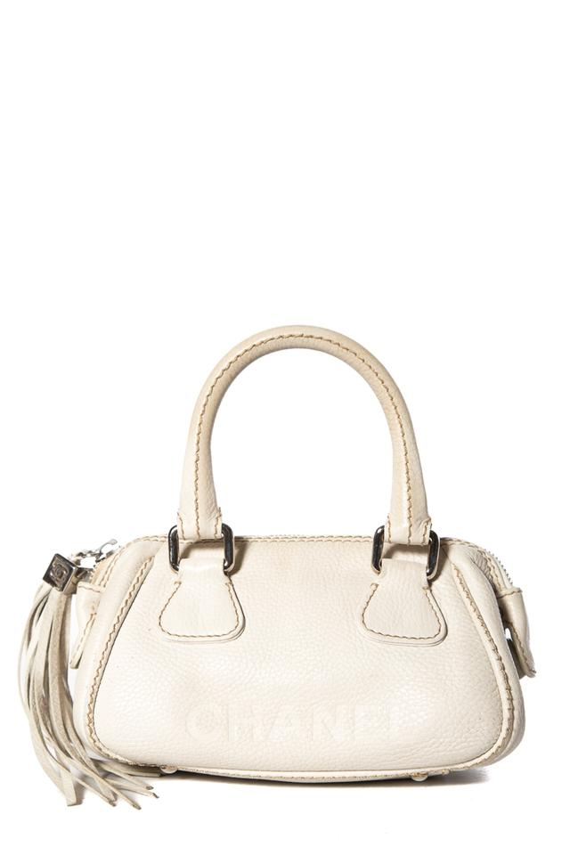 a4d5b982030c Chanel Pebbled Small Lax Handle Off White Leather Tote - Tradesy
