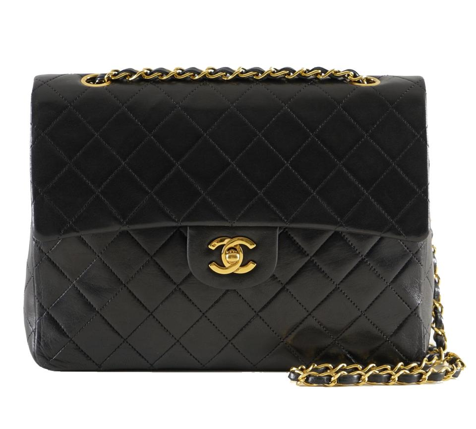 9c9b4905d2cb Chanel Classic Double Flap W 25 Quilted Cc Logo W/Chain Black Lambskin  Leather Shoulder Bag
