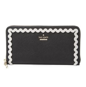 Kate Spade Cameron Street Ric Rac Black Saffiano Lacey Zip Around Wallet