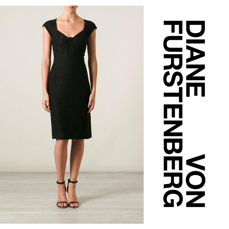 7cd68f9b1b2 Diane von Furstenberg Black  katrina  Cap-sleeve Lace Sheath Lbd Cocktail  Dress. Size  6 (S) Length  Mid-Length ...