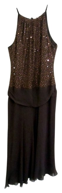 Preload https://item2.tradesy.com/images/donna-morgan-brown-sleeveless-asymmetrical-sequined-silk-chiffon-mid-length-cocktail-dress-size-8-m-2297691-0-0.jpg?width=400&height=650