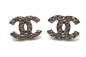 Chanel Timeless CC crystals pierced stud earrings