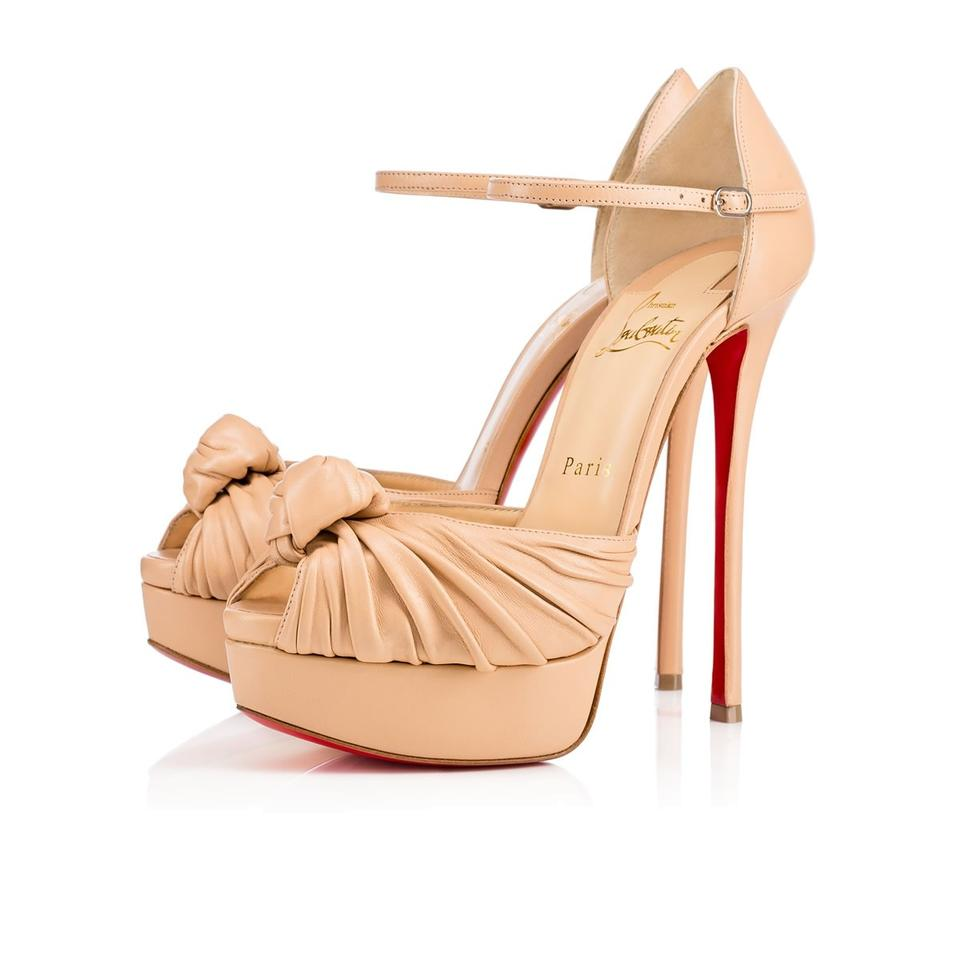 6d41fa5d33 Christian Louboutin Nude Classic Marchavekel 150mm Nappa Leather Ankle  Strap Peep Toe Heels Sandals
