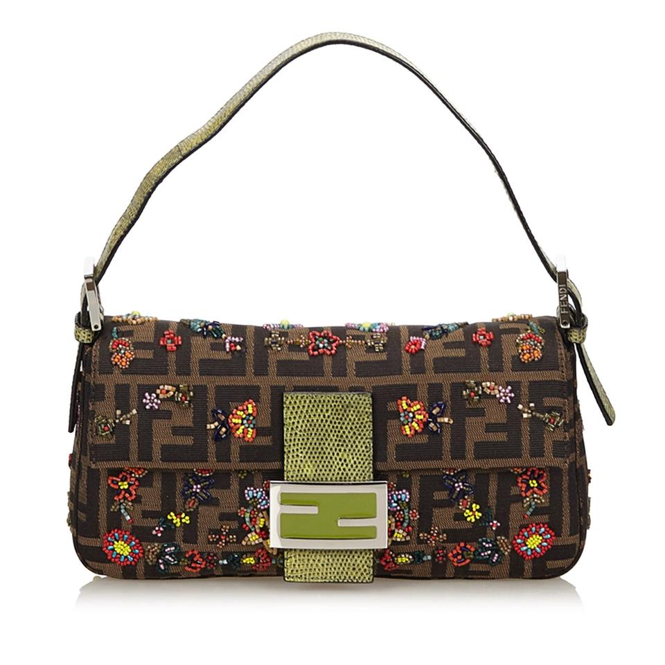 6d8a439cbb81 Fendi Zucca Floral Beaded Brown Fabric X Jacquard X Leather X Others ...