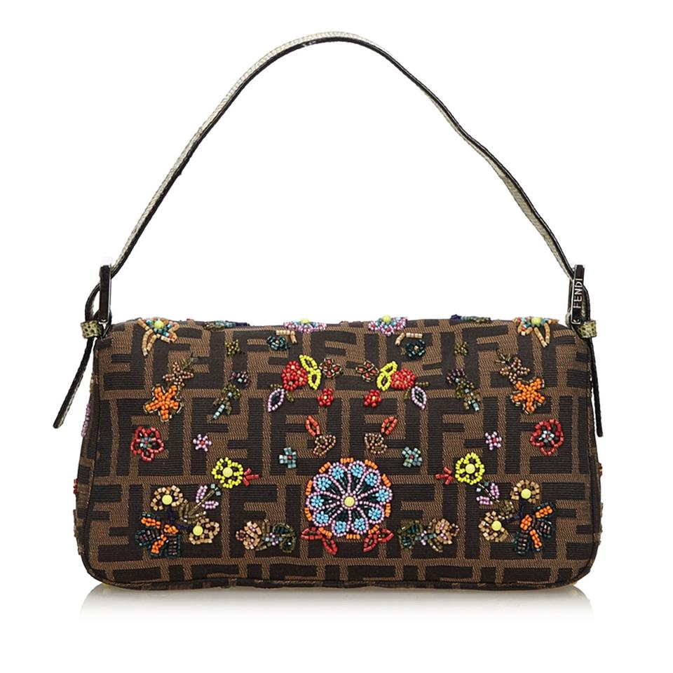 bbd28c400ed3 Fendi Zucca Floral Beaded Brown Fabric X Jacquard X Leather X Others  Baguette - Tradesy