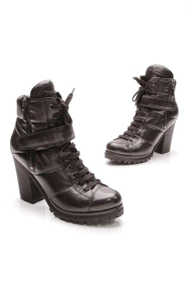 6c685cfcfda9 Prada Black Leather Sport Lace-up Strapped Ankle Boots Booties. Size  EU ...