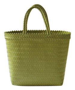 Other Plastic Handwoven Tote Market Picnic Spring Summer Playful Fun Yellow and Green Beach Bag