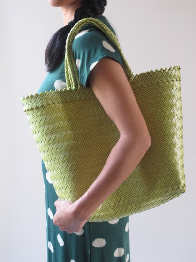 Other Plastic Handwoven Tote Market Picnic Island Spring Summer Playful Fun Yellow and Green Beach Bag