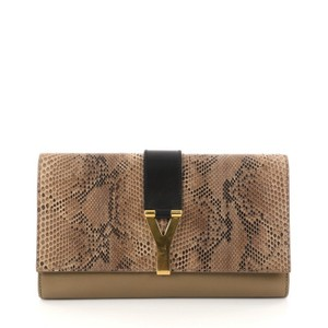 Saint Laurent Python Leather Taupe Clutch