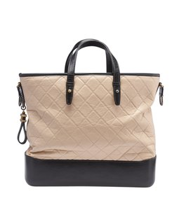 Chanel Leather Tote in BeigexBlack