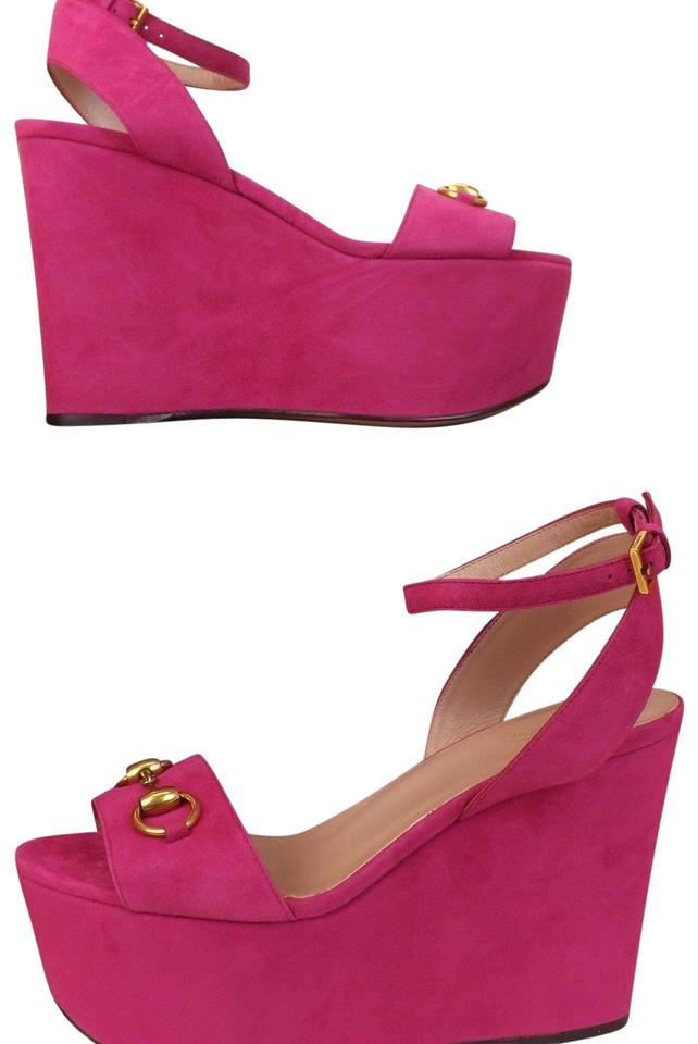 6f7274a78e5 Gucci Bright Pink Horsebit Suede Gold Liliane Platform Sandals 8 ...